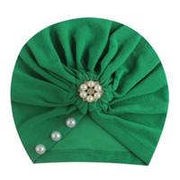 indische stirnbänder großhandel-2019 New Ins Europe und America Baby Kopfbedeckungen Volltonfarbe klebrige Perlen Indian Stirnband Mädchen Zubehör Hut