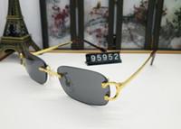 модные солнцезащитные очки real оптовых-овальные дизайнерские солнцезащитные очки с металлическим каркасом настоящие новые модные пилотные солнцезащитные очки без оправы для мужчин винтажные рога буйвола Очки с красной коробкой