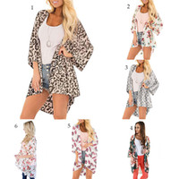 Wholesale sun protection women s clothing online - Women Leopard chiffon beach cover floral print loose casual lady batwing sleeve summer cardigan Sun protection clothing C6615