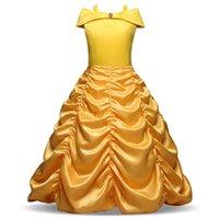gelbes satin blumenmädchen kleid großhandel-Yellow Boat Neck Blume Mädchenkleider Rüschen Lange Mädchen Festzug Kleider Günstige Kinder Formelle Kleidung Auf Lager