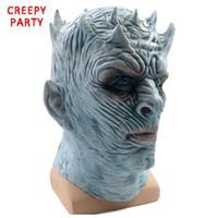 ingrosso volti zombie per halloween-Game of Thrones Maschera di Halloween Night's King Walker Face NIGHT RE Maschera in lattice di zombie per adulti Maschera per feste in costume per trono Cosplay