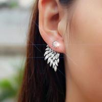 altın melek kanadı toptan satış-Yeni Moda Hediye Lady Küpe Parti Takı Küpe Altın Ve Gümüş Gotik Serin Melek Kanat Rhinestones Alaşım Küpe Kadınlar Için