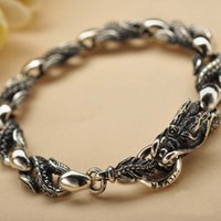 53f4c20c66e0b1 New Product Handmade Jewelry 925 Sterling Silver Thai Silver Vintage Dragon  Style Chain Bracelet for Men