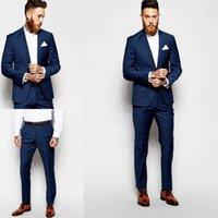 erkek takım elbise smokinleri toptan satış-Mavi Custom Made Düğün Erkekler Yan Vent Damat Smokin Suits Groomsmen Düğün Damat Ceket Için En İyi Erkek Takım Elbise + Pantolon Iki Parçalı Suits