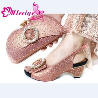 Wholesale ladies italian matching shoe bag resale online - Peach Color African shoe and bag set high heel Italian shoe with matching bag ladies matching women and Nigerian
