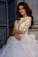 Wholesale beaded empire cap sleeve for sale - Group buy Sheer Long Sleeves Tulle A Line Wedding Dresses Pearls Beaded Lace Appliques Formal Bridal Gowns European Robe De Marriage Plus Size