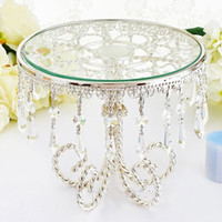 Wholesale cupcake stands resale online - 12 Silver Round Glass Crystal Metal Dessert Cupcake Stand Wedding Table Decorations cenpterpieces