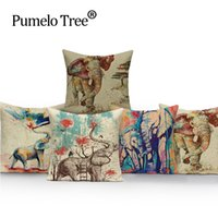Wholesale cute seat covers for sale - Group buy Animal Square colorful Home Cushion Decorative soft seat car Covers linen pet cute cartoon elephant suit cushion nice almohada