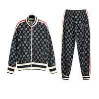 g стиль одежды оптовых-Мужские спортивные костюмы 20 весна новый из двух частей мода спортивная одежда уличный стиль с длинным рукавом с круглым вырезом брюки брюки письмо одежда хип-хоп G азиатский размер
