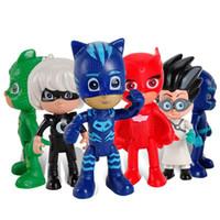 personnages de vengeurs achat en gros de-Le chiffre des vengeurs de 6pcs / set 8-9cm Pj Masques Personnages Catboy Owlette Gekko Cape Figurines d'action enfants jouets en plastique Poupées cadeau