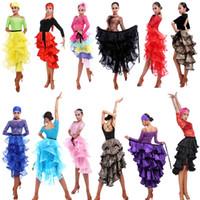 trajes de baile para crianças venda por atacado-17 cores Feminino Latina Salsa Tango Dance Dress Saia Adulto Desempenho Costume do Kid Ballroom Dancing Vestido Tourada Saias