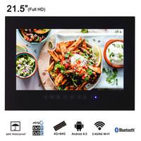 ingrosso smart tv bianca nera-Soulaca 21,5 pollici Android Hotel TV impermeabile Pannello in vetro Bagno senza cornice LED Full HD 1080 Smart impermeabile TV nero (bianco)