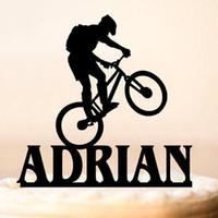 doğum günü partisi isimleri toptan satış-Dağ Bisikleti Bisiklet Kek Topper Personalizd Adı Doğum Günü Pastası Topper Özel Mutlu Doğum Günü Partisi Dekorasyon