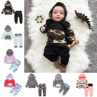 Wholesale baby boys clothes for sale - Newborn Infant Baby Long Sleeve Hoodie Tops Pants Suits Outfits Camouflage Clothing Set Girl Boy Kids Spring Autumn Clothing Styles