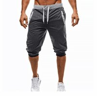 ingrosso pantaloni di cotone baggy per gli uomini-Pantaloni casual uomo baggy jogger Pantaloni casual con coulisse slim pantaloni corti pantaloni in morbido cotone