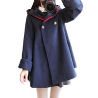 корейский зимний плащ пальто женщин оптовых-Women's Winter Spring Coat Ladies Wool Cape Jacket Long Korean Female Lolita Jacket Woollen Coats