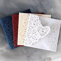 Wholesale invitations pearls resale online - 10pcs Pierced rose embossing laser invitation letter pearl paper invitation cards wedding business universal