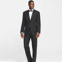 Wholesale prom suits resale online - Black Men Suits for Wedding Best Man Blazers Prom Suits Groomsmen Tuxedos Notched Lapel Piece Costume Homme Terno Masculino