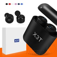 blackberry verpackungsbox großhandel-X3T Bluetooth Kopfhörer Drahtlose Ohrhörer Twins CSR4.2 Kopfhörer Stereo mit Magnetic Touch Charger Box für Iphone X Samsung Kleinpaket