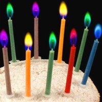 12 paket toptan satış-Doğum Günü Partisi 12pcs / pack Doğum Düğün Pastası Mumlar 5.5 * 0.5cm Güvenli Alevler Tatlı Dekorasyon Renkli Alev Çok renkli Mum Malzemeleri