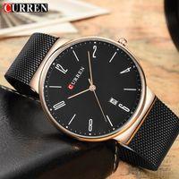 reloj de lujo hombres delgados al por mayor-CURREN Brand Relojes para hombre Mesh Steel Ultra Thin Quartz Watch Hombres Reloj de pulsera de negocios de lujo Relogio Masculino Drop Shipping 8257