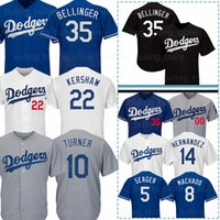 kershaw jersey venda por atacado-Dodgers Jerseys 35 Cody Bellinger 22 Clayton Kershaw Los Angeles 14 Enrique Hernandez 10 Justin Turner Machado 5 Seager 31 Piazza Pederson