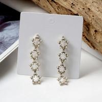 Wholesale korean shiny earrings resale online - AOMU Korean Fashion Shiny Hollow Pearl Beads Crystal Star Long Tassel Statement Drop Earrings For Women Girl Wedding Jewel