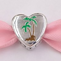 Authentische 925 Sterling Silber Perlen Pandora Florida Exklusiv Palme Herz Charm Charms Passt Europäische Pandora Style Schmuck Armbänder N