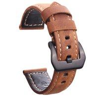 vintage uhrenarmbänder großhandel-Italien Echtes Leder Handgemachtes Armband 22mm 24mm Für PAM Vintage Uhrenarmband Mit Silber Schwarz Edelstahl Dornschließe