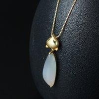 925 fuchs halskette großhandel-925 Sterling Silber NecklacePendants Neue Nette Natürliche Handgemachte Weiße Jade Tier Fox Anhänger Halsketten Für Frauen Mom
