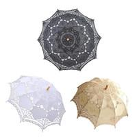 ingrosso decorazioni nozze di nozze del merletto-European Style Ritaglio Wedding Umbrella Decorazione Handmade Nero Pizzo Parasole Regalo Accessori ombrello Drop Shipping Y19062103