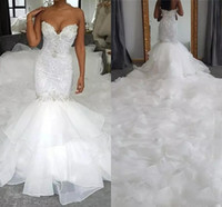 Wholesale beaded sweetheart sheer wedding dress resale online - New Vintage Mermaid Wedding Dresses Sweetheart Sleeveless Lace Crystal Beaded Organza Ruffles Tiered Long Plus Size Formal Bridal Gowns