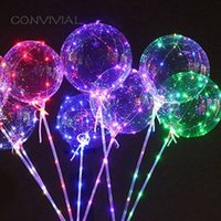 Wholesale clear bubble balloon for sale - Group buy LED Light Up Bobo Balloons Latex Clear Transparent Round Bubble Colorful Flash String Decorations Wedding Room Courtyard Kids Birthday Party