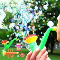 golpe de juguete al por mayor-Cool Cartoon Water Blowing Toys Polyporous Bubble Gun instrumentos Soap Bubble Blower Maker Machine Funny Outdoor Toy para Niños Favor de partido