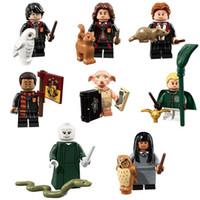 yapı taşları mini figürler toptan satış-Harry Potter Hermione Granger Ron Weasley Efendisi Voldemort Dean Thomas Dobby Draco Malfoy Cho Chang Mini Oyuncak Şekil Model Yapı Taşı tuğla