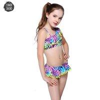 crianças, biquínis, miúdos, swimwear venda por atacado-Bikini Childrens Swimwear Bola bonito Suit Lotus Vestido Swimwear Pedaço Kid um ombro Swimsuit Meninas que banham-Two