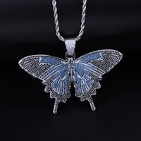 цепь бабочки большая оптовых-Новые Ювелирные Изделия Хип-Хоп Iced Out Big Butterfly Chain Ожерелье 3 Стиля Унисекс 18 К Позолоченные Шарм Ожерелье с 60 см Кубинской Цепи M073F