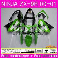 kawasaki ninja zx9 carenagem venda por atacado-Corpo Para KAWASAKI NINJA ZX-9R ZX900 ZX 900 ZX9 R 00 01 Carroçaria 65HM.0 900CC ZX 9 R ZX9R 00-01 ZX 9R 2000 2001 Carenagem Completa Verde preto Quente
