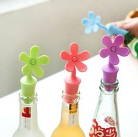 Wholesale fresh bottle resale online - Food grade silicone wine stopper eco friendly keep the fresh bottle stopper flower shaped beer flavor bottles wine stopper
