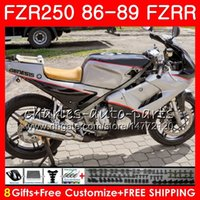 yamaha fzr al por mayor-Cuerpo para YAMAHA Negro blanco Top FZR250R FZRR FZR 250R FZR250 86 87 88 89 123HM.28 FZR250RR FZR 250 FZR-250 1986 1987 1988 1989 Kit de carenado