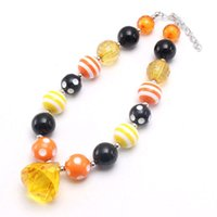 Wholesale pendants for kids chunky bead necklaces resale online - Kids Girls Halloween Style Chunky Beads Necklace With Orange Water Drop Pendant Child Bubblgum Necklace For Party