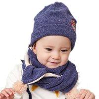 ingrosso animale del cofano del bambino-2 pezzi / set Baby Hat Sciarpa Set Baby Winter Cap bambino Beanie Bonnet cappelli caldi con scaldacollo per bambini stampa animale NM-012