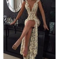 Wholesale tight evening dresses resale online - Champagne Sexy Plunging V Neck Tight High Split Evening Dresses Full Lace Side Cutaway Backless Prom Dress Beaded Party Gowns Maxi Wesr