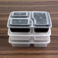 pegar caixas venda por atacado-One-off exterior Lunch Box grau alimentício PP salada Caixas Restaurante Take-out caixa retangular Disposable Lunch Box