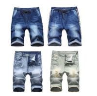 короткие джинсы расстроены оптовых-Мужские шорты джинсовые джинсовые Causual Fashional проблемные шорты скейтборд Jogger лодыжки рваные волны бесплатная доставка
