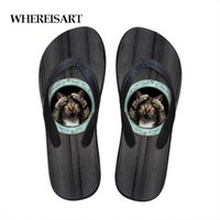 сандалии для животных оптовых-WHEREISART Blcak Cat Print Men Shoes Solid Flat Bath Slippers Animal Summer Sandals Slippers Casual Men Flip Flops Beach Shoes
