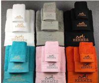 toalhas de praia tecidas venda por atacado-(Com caixa) Carta bordado toalha de algodão Moda 3PCS macios toalha conjuntos Pure toalha Gift Box Cor