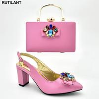 italienische schuhe elegant großhandel-Schuh und passende Tasche für Nigeria Party Damen Sandalen mit Absatz Sommer hochhackige Schuhe für Frauen italienische elegante Frauen Pumps