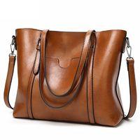 Wholesale dressing ladies hand bags online - good quality Vintage Oil Wax Handbags Luxury Women s Pu Leather Hand Bags Designer Messenger Bag Ladies High Capacity Top handle Tote