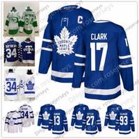 maillot de hockey gilmour achat en gros de-Maple Leafs de Toronto # 93 Doug Gilmour 17 Wendel Clark 13 Mats Sundin 27 Darryl Sittler Bleu Blanc Classique Joueur Retraité Maillot St. Pats